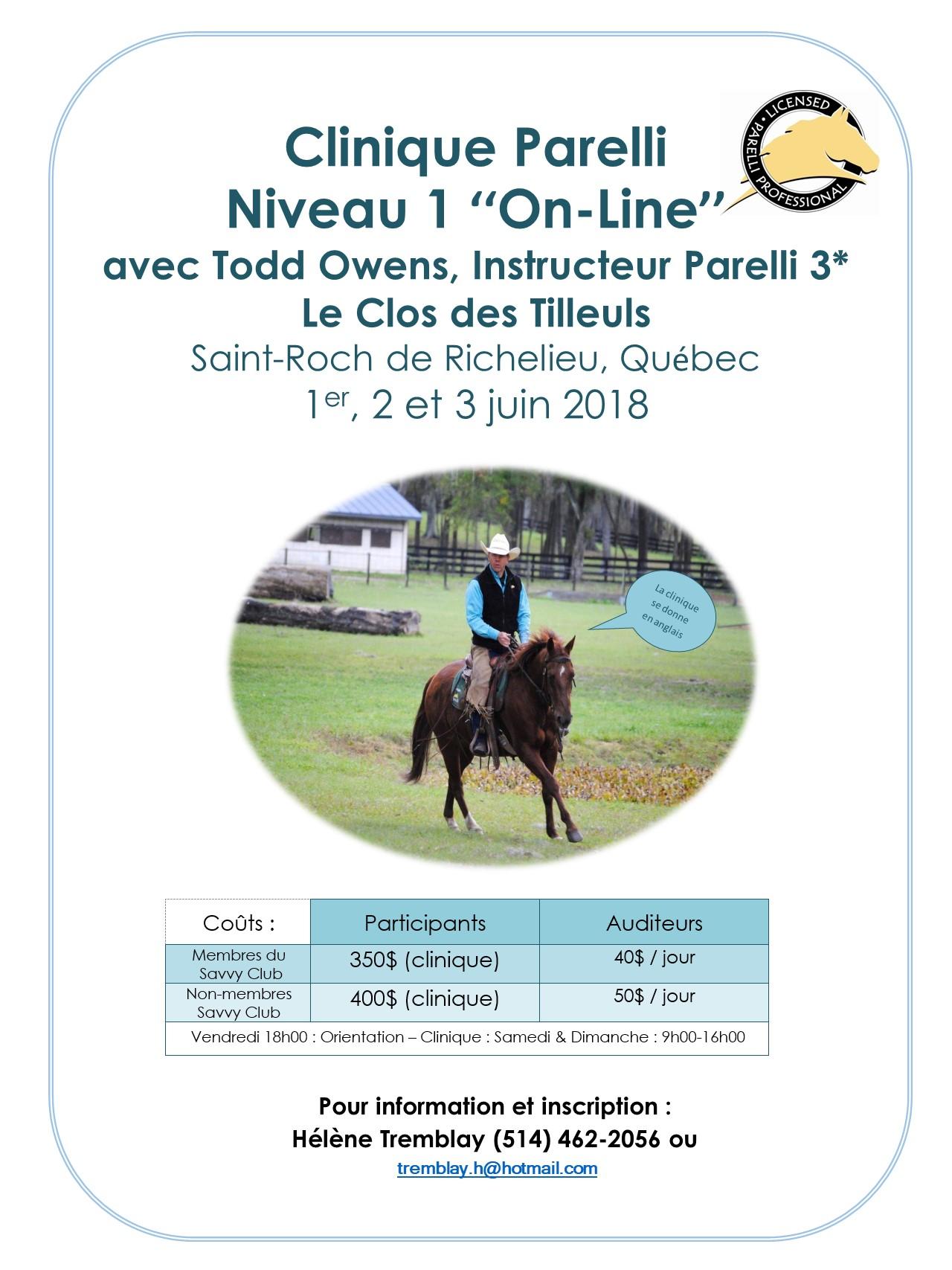 Clinique Parelli Niveau 1 « On-Line »
